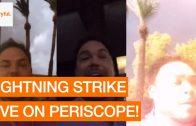 Man wordt net gemist door bliksem tijdens livestream
