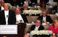 Trump en Clinton pesten elkaar tijdens diner