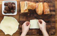 Knoflookbrood met gehaktballetjes