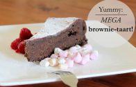 Mega grote brownietaart