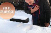 Je gezicht in de sneeuw duwen voor Instagram