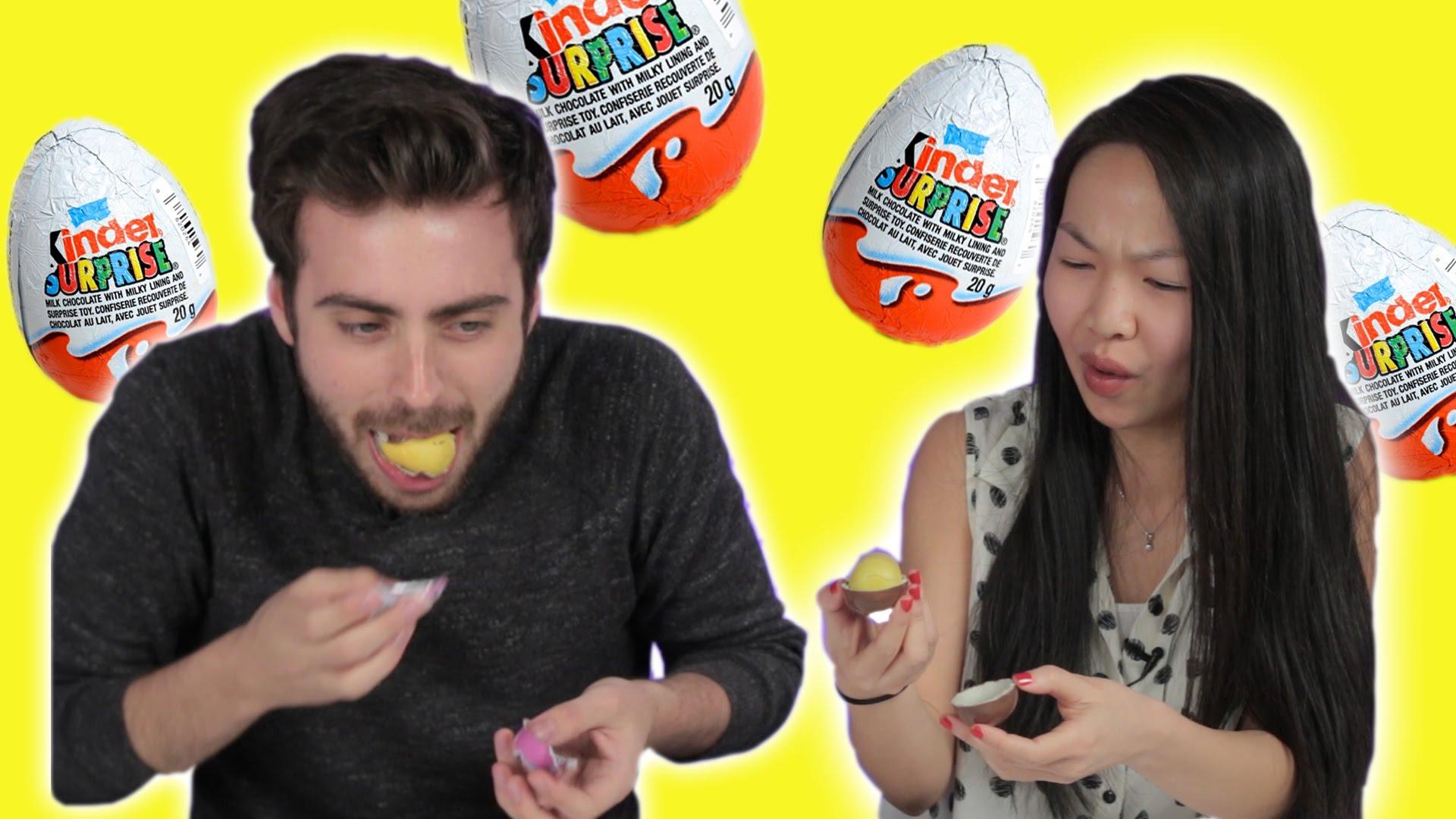 Amerikanen eten een Kinder Surprise